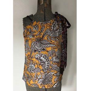 Trina Turk Mustard Yellow Silk Pattern Tie Top